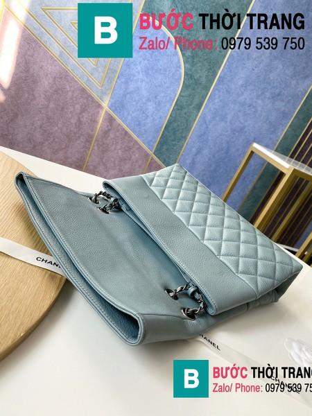 Túi đeo chéo Chanel Bag siêu cấp da cừu màu xanh size 32cm - 7095