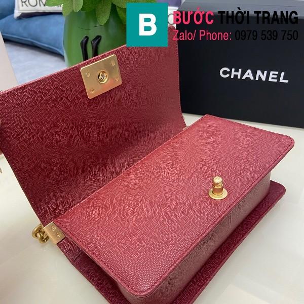 Túi xách Chanel Boy siêu cấp ô trám da bê màu đỏ đô size 25cm - 67086