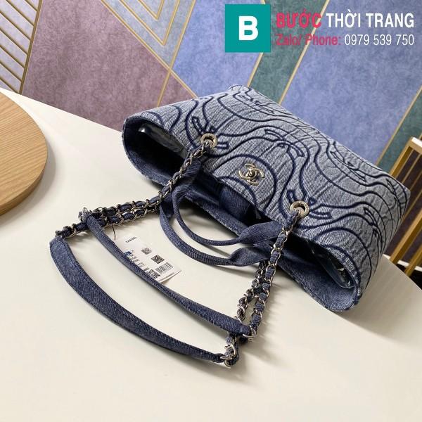 Túi xách Chanel siêu cấp vải casvan màu xanh đen size 39cm - AS2366
