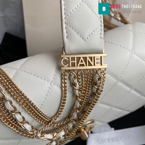 Túi xách Chanel Woke Classic Fap siêu cấp màu trắng da cừu size 21 cm - AS2052