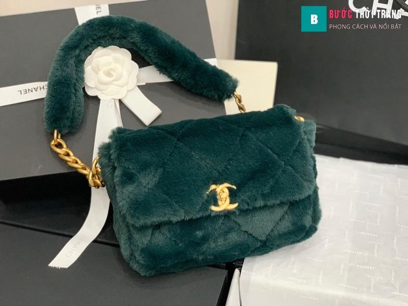 Túi xách chanel Flap Bag siêu cấp màu xanh size 15.5 cm - AS2240