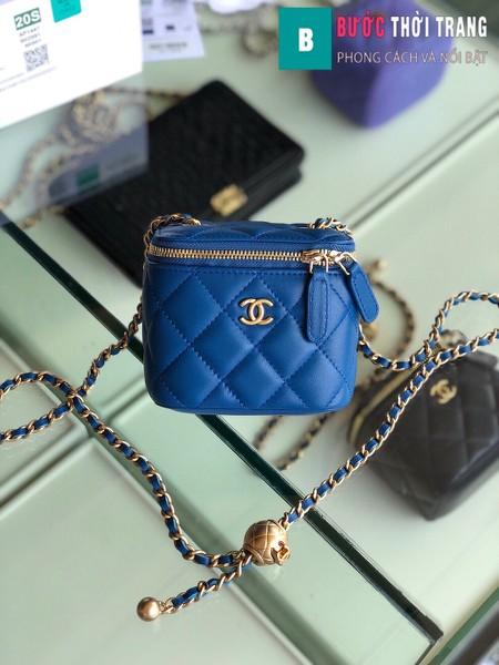 Túi xách Chanel Small vanity bag wich strap siêu cấp màu xanh size 11 cm - AP1147y
