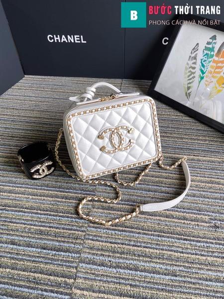 Túi xách Chanel Vanity case bag siêu cấp viền xích màu trắng size 18 cm