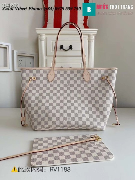 Túi Louis Vuitton Neverfull MM Damier Azur Canvas in Beige - LV N41605
