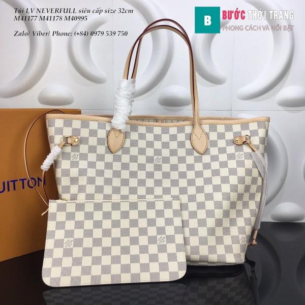 Túi LV NEVERFULL MM siêu cấp màu trắng caro lót trắng 32cm - N41603
