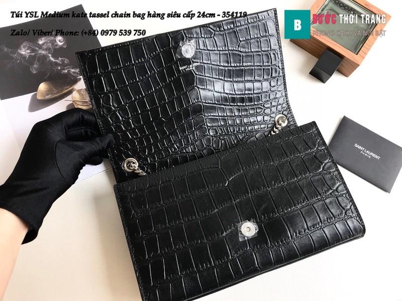 Túi YSL Medium kate tassel chain màu đen tag bạc dập vân cá sấu 24cm - 354119