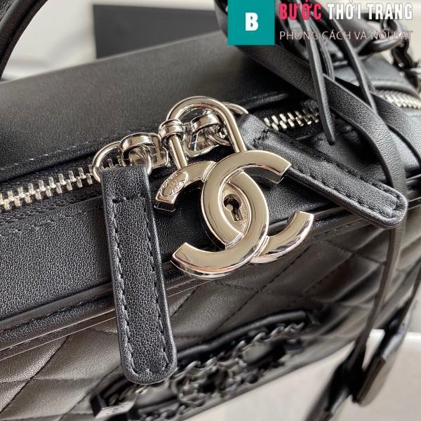 Túi xách Chanel Vanity case bag siêu cấp màu đen size 21 cm - 93343