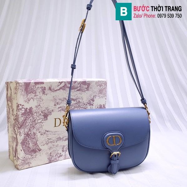 Túi xách Dior bobby siêu cấp da bê màu xanh denim size 18 cm