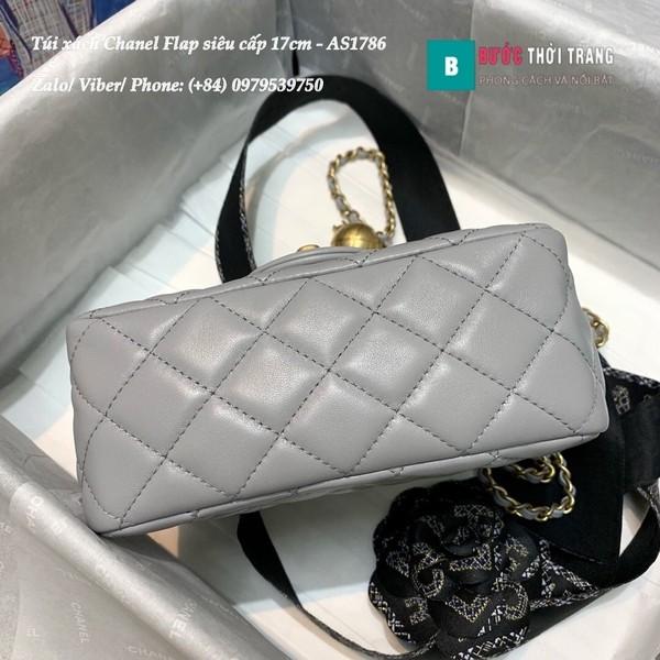 Túi Xách Chanel Flap Bag siêu cấp da cừu màu ghi size 17cm- AS1786