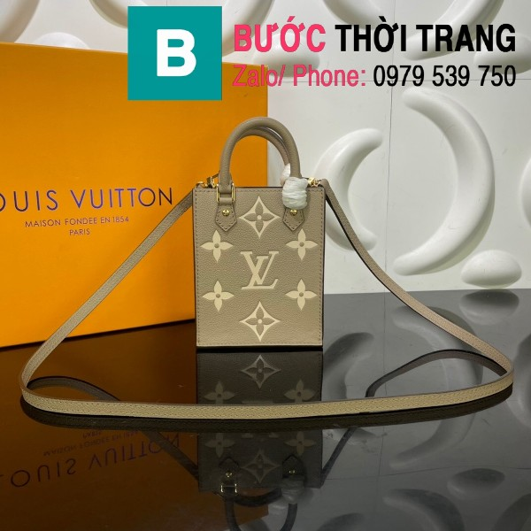 Túi xách LV Louis Vuitton Petit sac plat siêu cấp monogram màu galet size 14cm - M80449