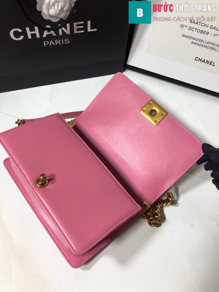 Túi xách Chanel boy siêu cấp da cá đuối màu hồng đậm size 25 cm - A67086