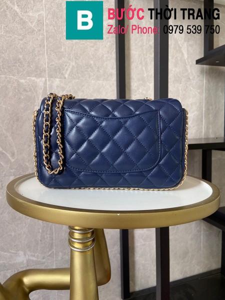 Túi xách Chanel Side Pearl Classic siêu cấp da cừu màu xanh tím than size 23cm - AS1740