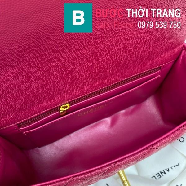 Túi xách Chanel Flap Bag siêu cấp da bê hạt màu hồng đậm size 20cm - AS2431Túi xách Chanel Flap Bag siêu cấp da bê hạt màu hồng đậm size 20cm - AS2431