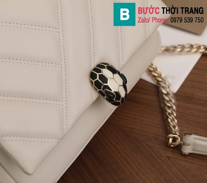 Túi xách Bvlgari Serventi Cabochon siêu cấp da bê màu trắng size 22.5cm