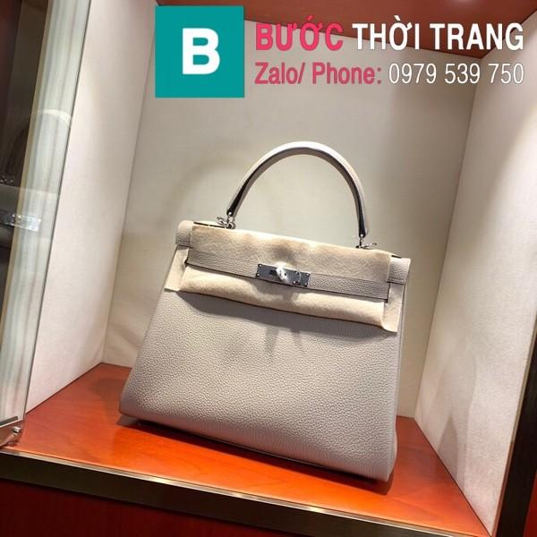Túi xách Hermes Kelly siêu cấp da togo màu trắng size 28cm