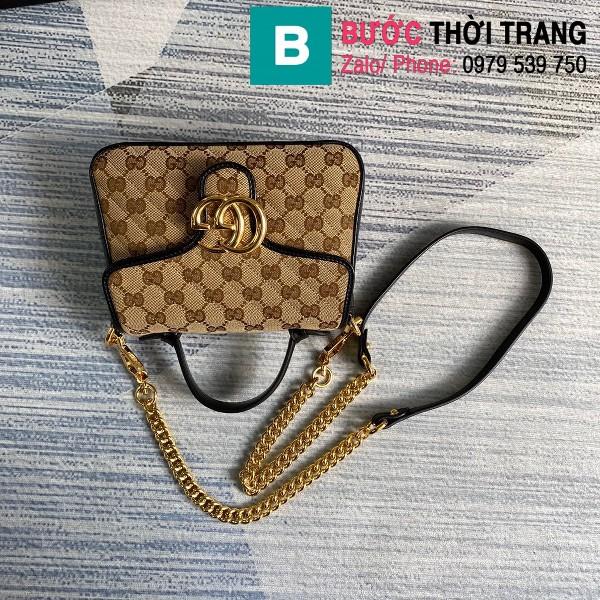 Túi xách Gucci Marmont mini top handle siêu cấp vải casvan viền đen size 21cm - 583571