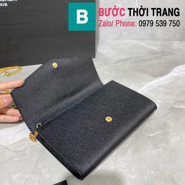 Túi ví tay cầm dây đeo YSL Saint Laurent siêu cấp da bê màu đen size 19cm - 607788