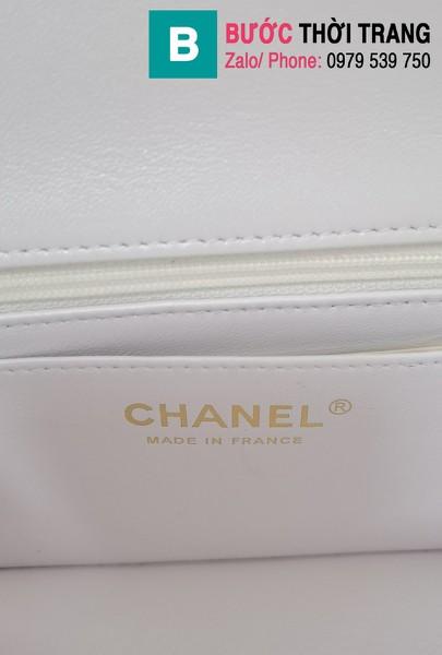 Túi xách Chanel siêu cấp mẫu mới 2021 da bê màu trắng size 20 cm