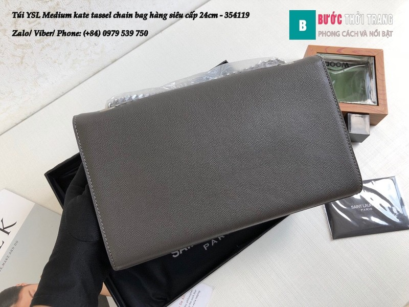 Túi YSL Medium kate tassel chain màu ghi tag bạc size 24cm - 354119