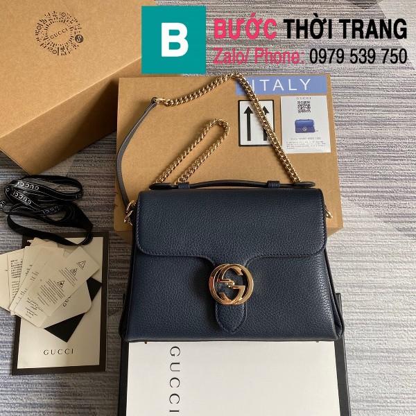 Túi xách Gucci Interlocking Leather Chain Crossbody Bag siêu cấp màu xanh đen size 25cm - 510302
