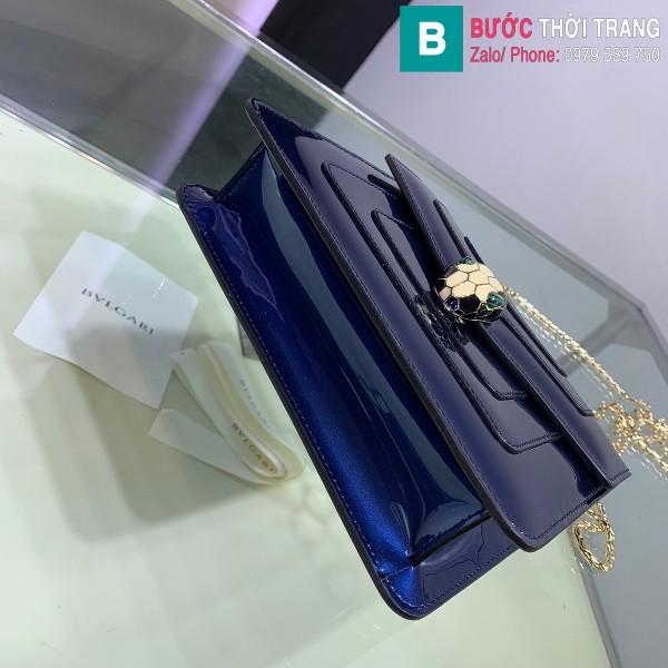 Túi xách Bvlgari serventi forever siêu cấp da bóng màu xanh dương size 20 cm