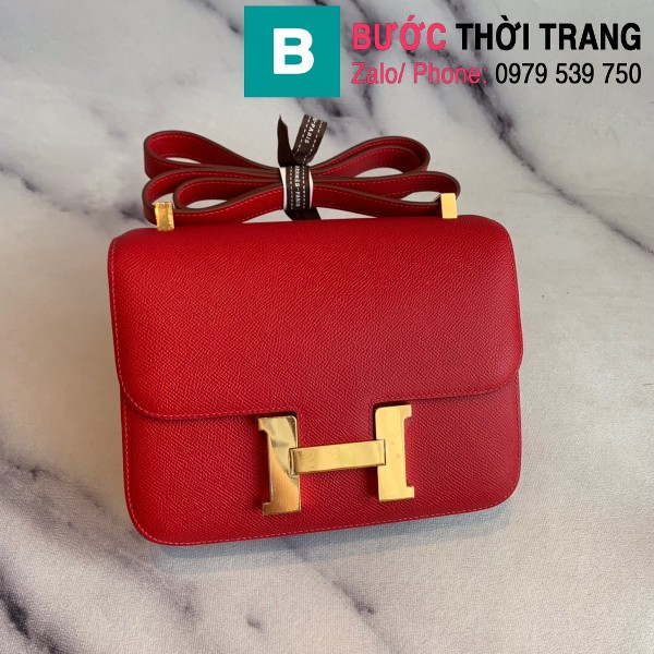 Túi xách Hermes Constance siêu cấp da epsom màu đỏ size 18cm