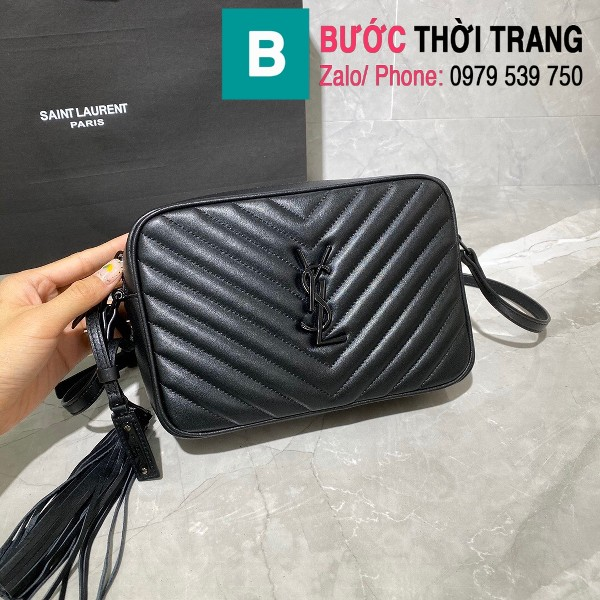 Túi đeo chéo YSL Saint Laurernt Lou siêu cấp da bê màu đen tag cùng màu size 23cm - 520534