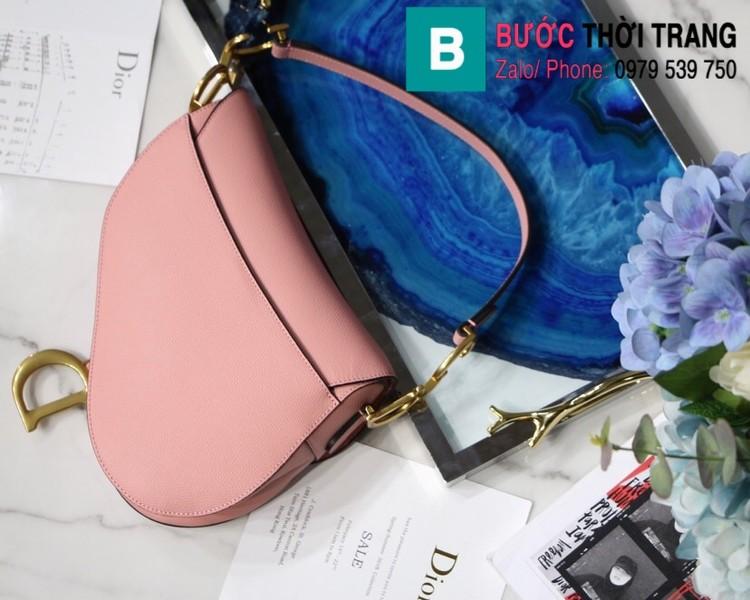 Túi xách Dior Saddle siêu cấp da bê màu hồng size 25.5cm - M9001