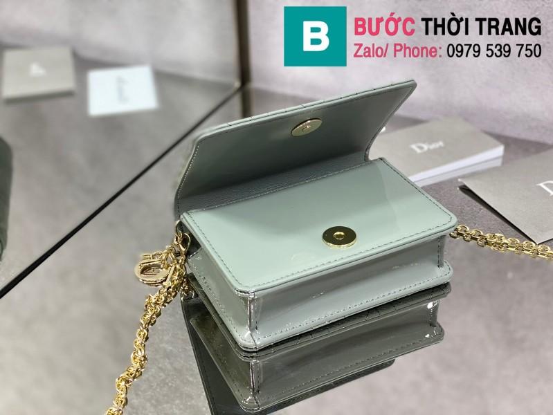 Túi xách Lady Dior Nano Pouck siêu cấp da bê màu xanh nhạt size 13.5cm -D6401