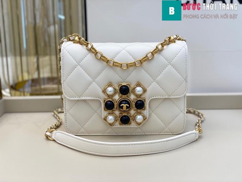 Túi xách Chanel Flap Bag siêu cấp màu trắng da bê size 17.5 cm - AS1889