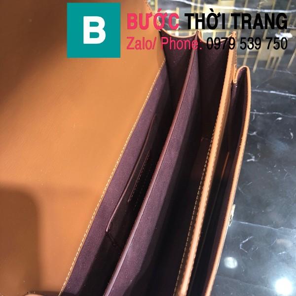 Túi xách YSL Saint Laurernt Sunset siêu cấp da bê màu nâu bò size 22cm - 634723
