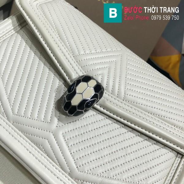 Túi xách Bvlgari Seventi Diamond Blast siêu cấp da bê màu trắng size 24 cm - B286628