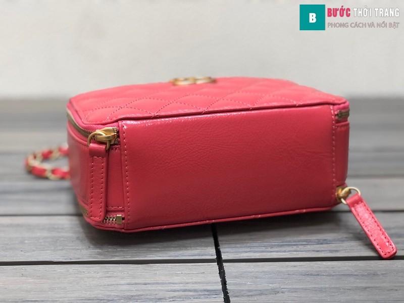 Túi xách Chanel Vanity siêu cấp màu đỏ da bê size 19 cm - 2179