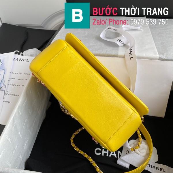 Túi xách Chanel Flap Bag siêu cấp da cừu màu vàng size 22cm - AS2383
