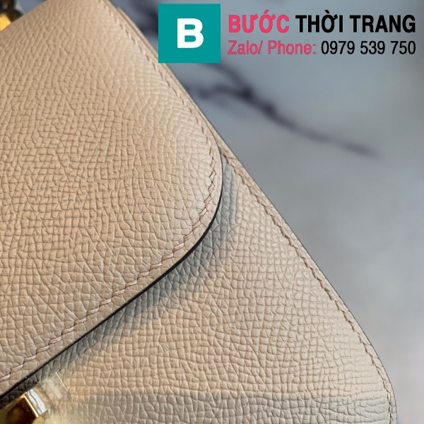Túi xách Hermes Constance siêu cấp da epsom màu xám size 18cm