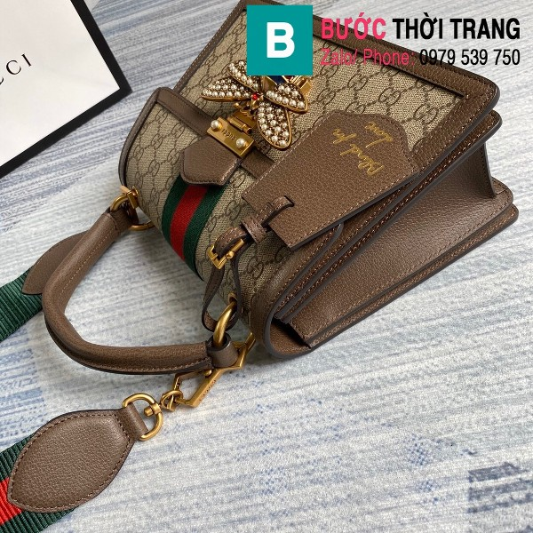Túi Gucci Queen Mragaret GG Top Handle Satchel siêu cấp viền nâu size 25.5 cm - 476541