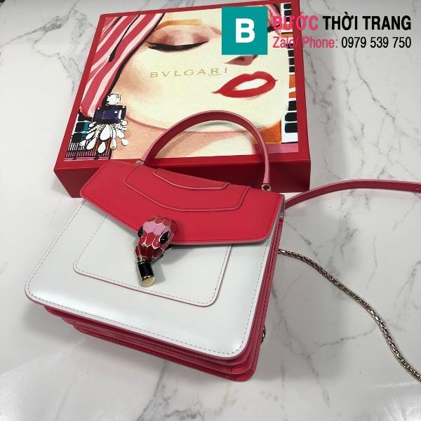 Túi xách Bvlgari serventi forever siêu cấp da bê màu trắng đỏ size 18 cm