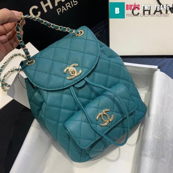 Túi xách Chanel duma backpack màu xanh size 21.5 cm - AS 1371