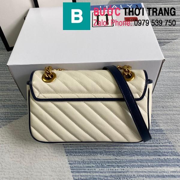 Túi xách Gucci Marmont matelasé mini bag siêu cấp màu trắng viền xanh size 22cm - 446744