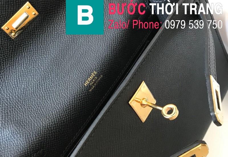 Túi xách Hermes Kelly Pochette siêu cấp da epsom màu đen size 22cm