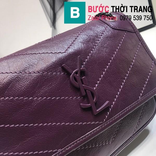 Túi xách YSL Niki siêu cấp da cừu nguyên bản màu tím huế size 22cm - 533037