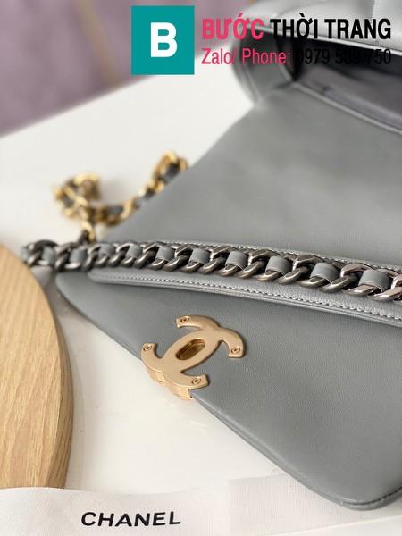 Túi xách Chanel 19 flap bag siêu cấp da bê màu ghi size 26 cm - 1160