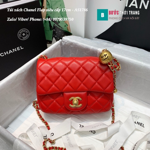 Túi Xách Chanel Flap Bag siêu cấp da cừu màu đỏ size 17cm - AS1786