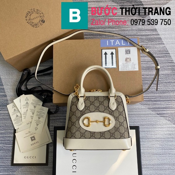 Túi xách Gucci Hosebit 1955 mini top handle bag siêu cấp casvan viền da size 20cm - 640716