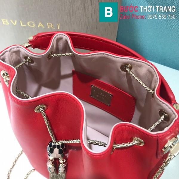 Túi Bvlgari Serventi Forever Bucket bag siêu cấp da bê màu đỏ size 16cm - B287641