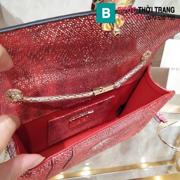 Túi xách Bvlgari serventi forever siêu cấp da rắn màu đỏ đô  size 22cm
