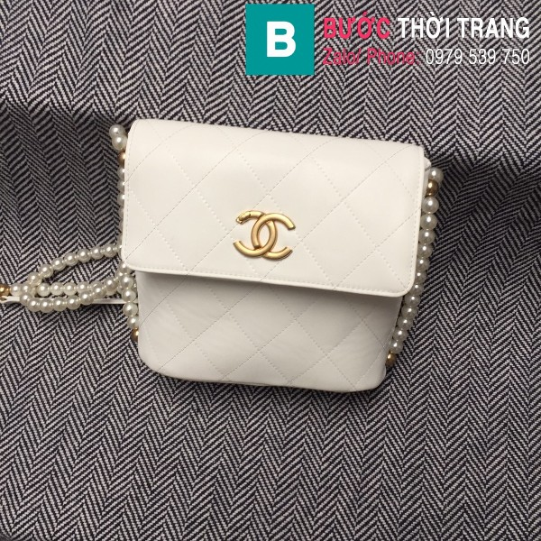 Túi đeo chéo Chanel siêu cấp da cừu màu trắng size 19cm - AS2503