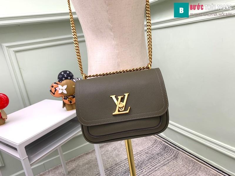 Túi xách LV Lockme Chain PM siêu cấp màu xanh rêu size 23 cm - M57073