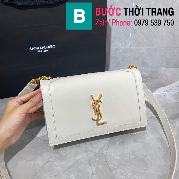 Túi đeo chéo YSL Saint Laurernt Book Bag siêu cấp da trơn màu trắng cùng màu size 24cm - 532756