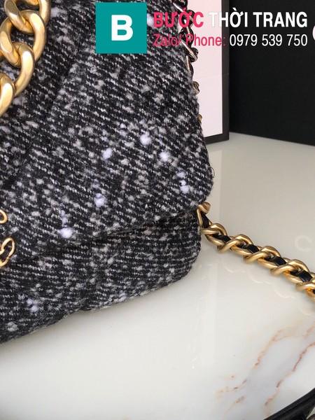 Túi xách Chanel 19bag siêu cấp vải casvan màu đen size 26cm - AS1160